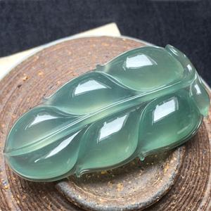 冰種晴水天然緬甸翡翠A貨老坑玉葉掛件